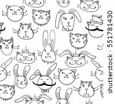 cats and dogs funny pattern.... | Shutterstock . vector #551781430