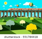 flat design landscape with... | Shutterstock .eps vector #551784418