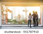 three construction engineers... | Shutterstock . vector #551787910