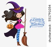 little witch. halloween witch.... | Shutterstock .eps vector #551791054