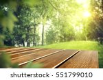 wooden table of free space in... | Shutterstock . vector #551799010