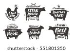 farm animals icons set.... | Shutterstock .eps vector #551801350