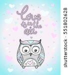 valentine owl  heart pattern.... | Shutterstock .eps vector #551802628