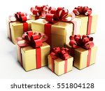 gold giftboxes with red ribbon. ... | Shutterstock . vector #551804128