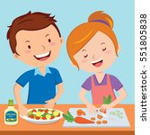 young couple preparing food in... | Shutterstock .eps vector #551805838