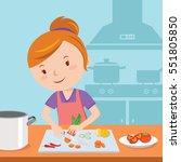 woman preparing food in kitchen | Shutterstock .eps vector #551805850