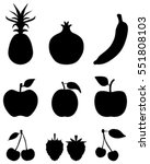 black silhouettes of fruit... | Shutterstock .eps vector #551808103