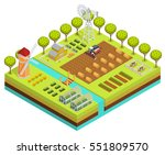 colored farm isometric with... | Shutterstock .eps vector #551809570