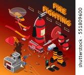 firefighter isometric...   Shutterstock .eps vector #551809600