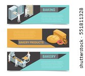 three horizontal colored bakery ... | Shutterstock .eps vector #551811328