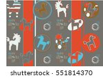 funny seamless pattern with... | Shutterstock .eps vector #551814370