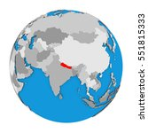 map of nepal highlighted in red ... | Shutterstock . vector #551815333
