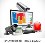 CCTV camera and DVR - digital video recorder - security system concept   - stock vector
