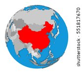 map of china highlighted in red ... | Shutterstock . vector #551817670