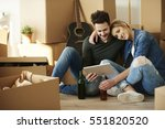 young couple taking break from... | Shutterstock . vector #551820520