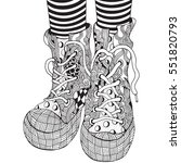 cool shoes in zentangle style ... | Shutterstock .eps vector #551820793