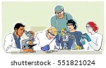 research laboratory in retro... | Shutterstock .eps vector #551821024
