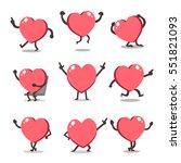 cartoon heart character poses   Shutterstock .eps vector #551821093
