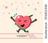 cartoon heart character winning ... | Shutterstock .eps vector #551821540