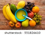 baby fruit food. raw fruits... | Shutterstock . vector #551826610
