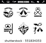 scuba diving icons with corals  ... | Shutterstock .eps vector #551834353