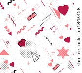 Trendy geometric elements memphis card. Seamless memphis pattern for Happy Valentine's Day celebration with holiday symbols  in retro 80s, 90s memphis style. Vector illustration | Shutterstock vector #551846458