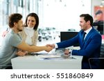 salesman and customer shaking... | Shutterstock . vector #551860849