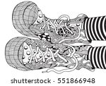 shoes in zentangle style  hand... | Shutterstock .eps vector #551866948