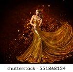 fashion woman gold dress ... | Shutterstock . vector #551868124