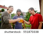 three young men cheerfully... | Shutterstock . vector #551870338