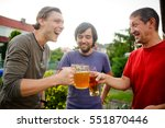 three young men cheerfully... | Shutterstock . vector #551870446