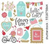 valentines day hand drawn ... | Shutterstock .eps vector #551875864