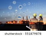 two engineer on site   industry ... | Shutterstock . vector #551879878