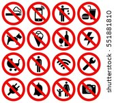 set of prohibited no stop sign... | Shutterstock .eps vector #551881810