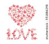 pink hearts on a white...   Shutterstock .eps vector #551886298