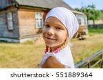 little beautiful calm girl in a ... | Shutterstock . vector #551889364