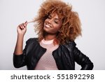 black woman touches her blonde... | Shutterstock . vector #551892298