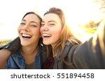 Two Funny Friends Taking Selfi...