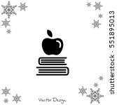 web icon. apple on books ...