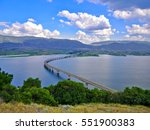 Beautiful view over water reservoir lake in Kozani, Greece.