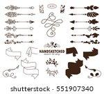 vector set of calligraphic... | Shutterstock .eps vector #551907340