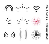 Signal icons vector set isolated on white background, line outline style radio signals waves and light rays, radar, wifi, antenna and satellite signal symbols