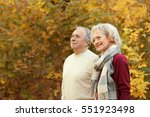 lovely mature couple in autumn... | Shutterstock . vector #551923498