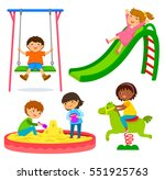 set of kids playing in a... | Shutterstock .eps vector #551925763