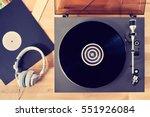 gramophone with vinyl records... | Shutterstock . vector #551926084
