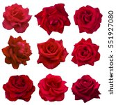 Stock photo collage of red roses isolated on white background 551927080