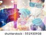 double exposure of scientist... | Shutterstock . vector #551930938