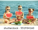 Cute Kids Eating Watermelon On...
