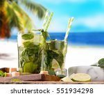 mojito lime drinks on wood with ... | Shutterstock . vector #551934298
