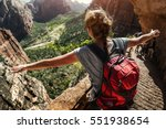 Woman Hiker Standing With...